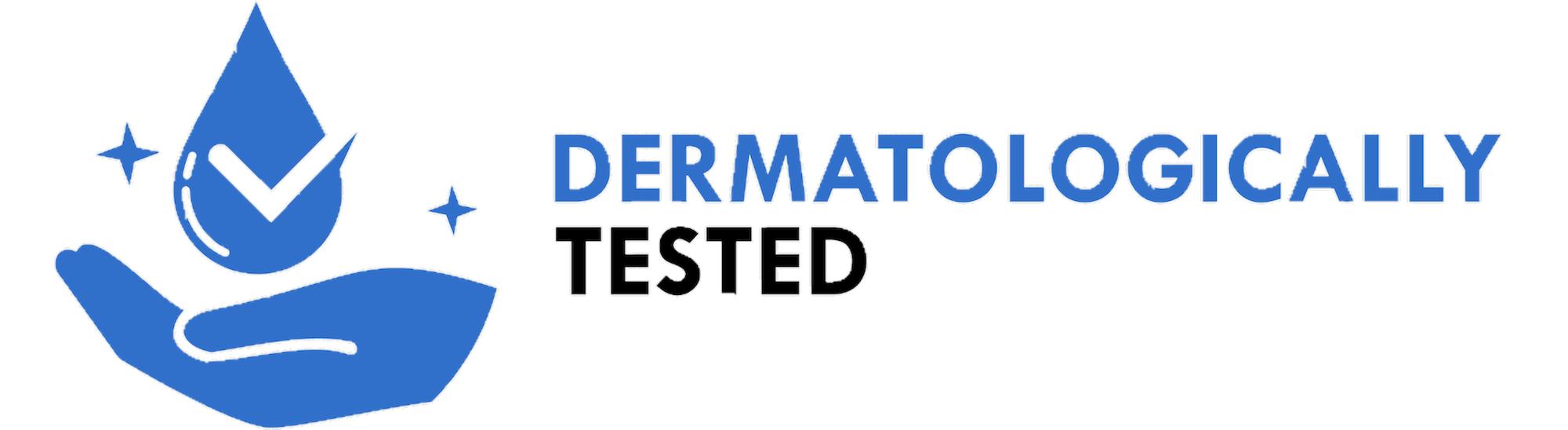 Blue dermatologically or dermatologist tested certificate symbol